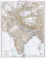 CENTRAL ASIA and INDIA showing Russian & British Territory - Antique Map 1899