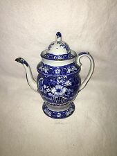 Historical Staffordshire Dark Blue Coffee Pot With Basket Of Flowers Ca. 1825