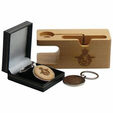 RAF Phone Apple Watch Dock Display Stand Wooden Silver Keyring Personalised Free