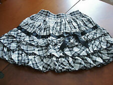 Bodyline Sweet Lolita Black and Grey Tartan Tiered Ruffle Mini Skirt Size M NWT