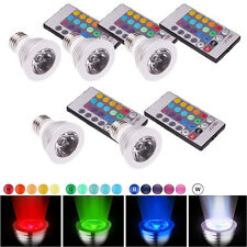 5 Pack New E27 3W 16-color LED Spotlight Magic RGB Bulb Lamp with Memory Remote