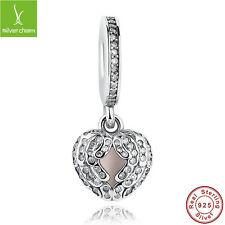 S925 Sterling Silver Charms Beads With Love Heart CZ Zirconia Christmas Jewelry
