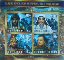 Military leaders war Napoleon Genghis Khan m/s Tchad 2015 MNH #tchad2015-59
