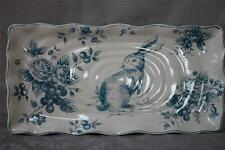 MAXCERA BLUE WHITE TOILE BUNNY RABBIT LARGE RECTANGULAR SERVING TRAY PLATTER
