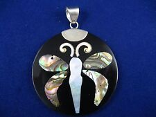 Pendant - Mother of Pearl and Abalone Inlaid Butterfly and .925 Sterling Silver