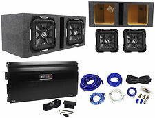 "2) Kicker S12L7-4 Solo Baric L7 12"" 3000w Subs+Mono Amplifier+Vented Box+Amp Kit"