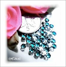 30 Swarovski ss10 Blue Zircon Vintage Rose Montee Sew On Crystal 10ss Turquoise