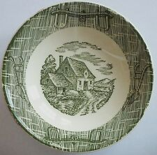 Vtg. ROYAL CHINA USA BERRY/DESSERT BOWL - Green Ox Bow & Turning Plow Design