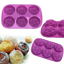 Rose Silicone 6-Cavity Cake Soap Mold DIY Decorate Baking Chocolate Mould Tray