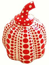 YAYOI KUSAMA 'Pumpkin' Sculpture Multiple Paperweight Wht w Red Spots 4x3.25 NEW