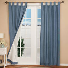 New Thermal Insulated Tab Top Curtains Drapes 80X72  Blue  2 Panels FREE SHIP!