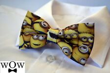 "Minions KIDS SIZE solid 2 layer party wedding pre-tied ""WoW bowties"" bow tie"