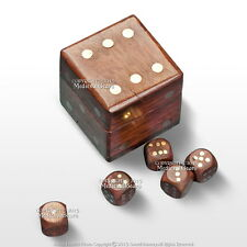 5 Hand Craved Wood Dices Gaming Set Casino Game Gambling Dice Cube Storage Box