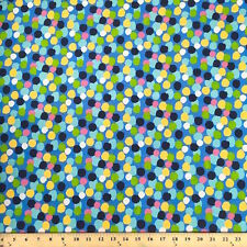 """Dots Blue Print Fabric Cotton Polyester Broadcloth By The Yard 60"""""""