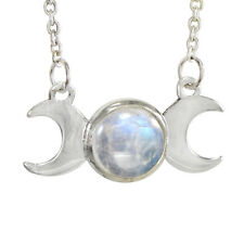 """Sterling Silver Moon Phase Triple Goddess Rainbow Moonstone 18"""" Necklace Jewelry"""