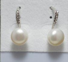 Genuine White 9-10 Freshwater Pearl Crystal Rhodium PL Hook Drop/Dangle Earrings
