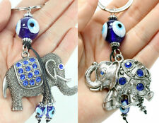 2 Blue Evil Eye Elephant Keychains Blessing Protection Religious Gift US Seller