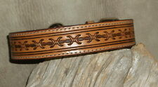 "US Made Saddle Tan Custom  1 1/4"" Leather Dog Collar Hand Tooled Barbed Wire G&E"