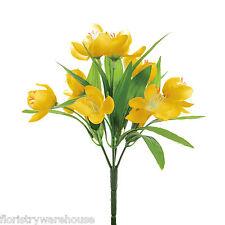 Artificial silk Crocus bunch Yellow fake flowers 23cm