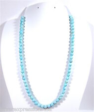 6mm Natural AAA Larimar Round Smooth Beads & 925 Silver Necklace 17- 19'' Long