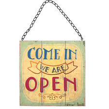 two sided open & closed sign with metal chain 22cm tall by 22cm wide WP_10735