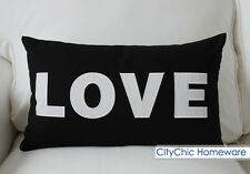 "50cm x 30cm Home Modern Black & White Embroidered ""LOVE"" Cushion Cover"