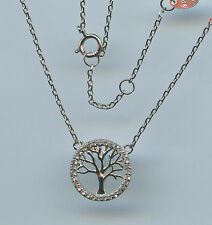 925 STERLING SILVER  & CZ 1/2 INCH ROUND TREE OF LIFE NECKLACE