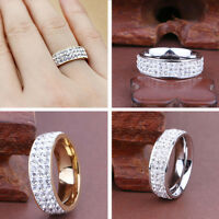 Size8-12 Women Men Stainless Steel Ring Full Filled Zircon Wedding Band Rings
