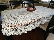 """""""Old Fashion Pineapple"""" Oval hand crochet tablecloth"""