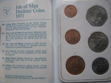 Isle of Man Manx 1971 UNC 6 coin collection set 1/2 - 50 Pence in white folder