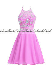 Halter Beads Short Girls Prom Cocktail Dresses Formal Bridesmaid Party Gown 2 14