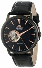 Orient FDB08002B Men's Esteem Leather Band Partial Skeleton Automatic Watch