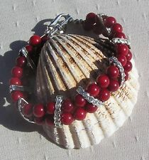 "Natural Red Coral Gemstone Bracelet ""Poppy"""