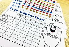 Childrens Potty Toilet Training Chart inc 210 Reward Star stickers encouragement
