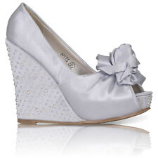 WOMENS LADIES SATIN WEDDING PROM BRIDAL EVENING WEDGE GEM SHOES SIZE 3-8