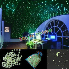 200X Stars Moon Stickers Bedroom Home Wall Room Decor Glow In The Dark (No glue)