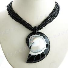 "2 5/8"" HUGE BLACK NAUTILUS SHELL PENDANT BLACK BEADS necklace"