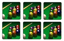 "9 BALL POOL BILLIARD COASTERS 1/4"" BAR & BEER SET OF 6"