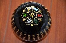 "5.9""Black Obsidian Crystal Heart Sutra of the Perfection of Wisdom Sphere Ball"