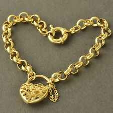 Arab Fashion 9K Yellow Gold Filled WOMENS Heart Bracelet,8.7 INCH,Z4269