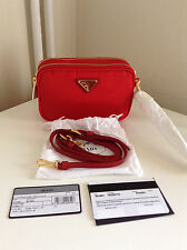 Prada Red Nylon And Leather Trim Cross Body Bag
