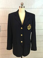 Ralph Lauren Crown Crest Boyfriend Blazer Jacket Womens 10 Navy Blue Gold Button