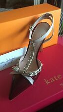 "kate spade Chestnut red   LYDIA Crystal Studs 4"" Heel 8.5M ITALY SOLD OUT $398"