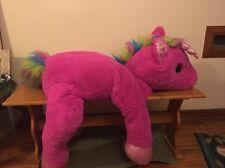 """Plush Large Pink Rainbow Unicorn 50"""" Pony Horse Giant Stuffed Animal Toy Soft"""