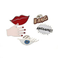 Cartoon Red Lip Hand Eye Collar Pin Enamel Metal Brooch Women Shirt Lapel Pin