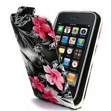PINK FLOWER PU LEATHER FLIP CASE FOR IPHONE 3G