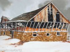 Bruce Cryer AFCA 1975 Old Barn in Snow Painting Canadian Listed Artist