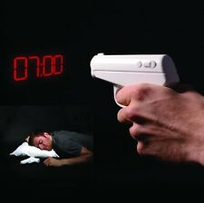 Secret Agent Gun Alarm Clock Vibrating LED Projection Display Gag Gift Novelty