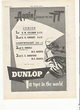 Dunlop tyres TT results classic motorcycle period advert June 1954