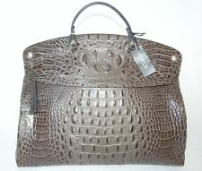 Authentic FURLA top handle/crossbody PIPER bag crocodile embossed leather BROWN